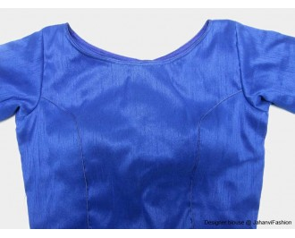 Banarsi Dupin Blue Boat Neck Blouse with Sleeves