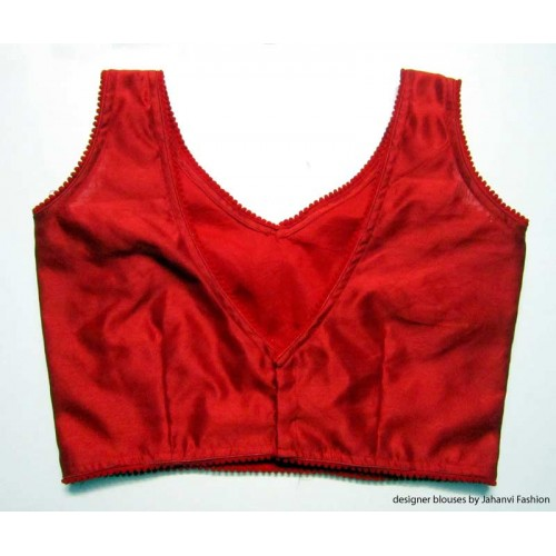 Banarsi Dupin Red V-Neck Blouse with Pumpum Lace