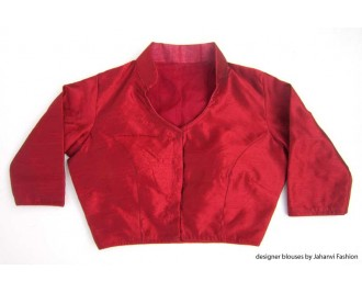 Banarsi Dupin Red Collar Neck Blouse with Quarter Sleeves