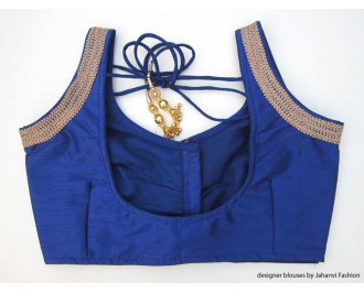 Banarsi Dupin Blue Sweet Heart Neck Blouse with 3 Line Lace on Shoulder Blouse