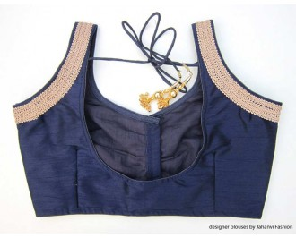 Banarsi Dupin Dark Blue Sweet Heart Neck Blouse with 3 Line Lace on Shoulder