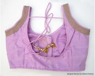 Banarsi Dupin Light Purple Sweet Heart Neck Blouse with 3 Line Lace on Shoulder