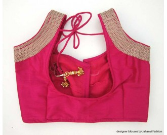 Banarsi Dupin Magenta Sweet Heart Neck Blouse with 3 Line Lace on Shoulder