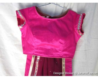 Banarsi Dupin Magenta Boat Neck Blouse with Golden Lace on Sleeves