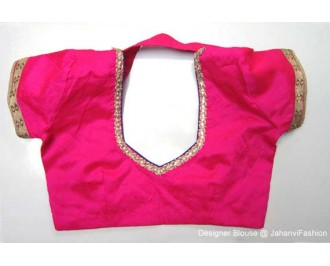 Banarsi Dupin Magenta Collar Blouse with Golden Lace on Sleeves