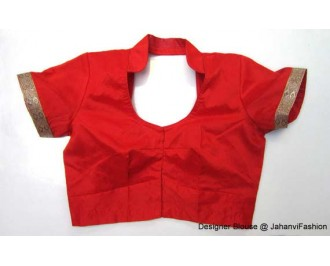 Banarsi Dupin Red Collar Blouse with Golden Lace on Sleeves