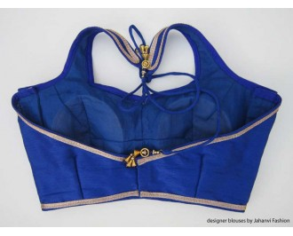 Banarsi Dupin Blue Halter Style Blouse with Golden Lace Blouse