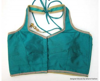 Banarsi Dupin Teal Halter Style Blouse with Golden Lace