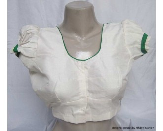 Banarsi Dupin Off-White Butterfly Round Neck Teera Blouse - Green Piping