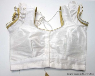 Banarsi Dupin Off-White Butterfly Round Neck Teera Blouse - Golden Piping