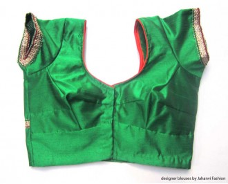 Banarsi Dupin Green Butterfly with Lace Design Round Neck Teera Style