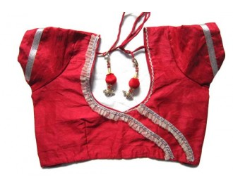 Banarsi Dupin Red  Frill Design with Round Neck Teera Style