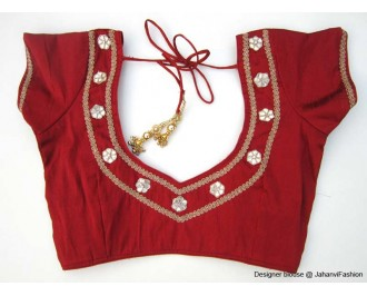 Banarsi Dupin Red Back Neck with Flower Applique Border Round Neck Teera Style