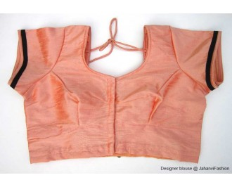 Banarsi Dupin Peach Butterfly Design with Round Neck Teera Style
