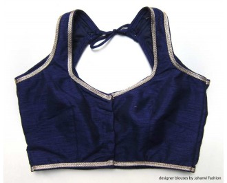 Banarsi Dupin Dark Blue Halter Style Blouse with Golden Lace