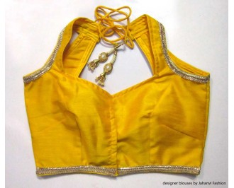 Banarsi Dupin Deep Yellow Halter Style Blouse with Golden Lace