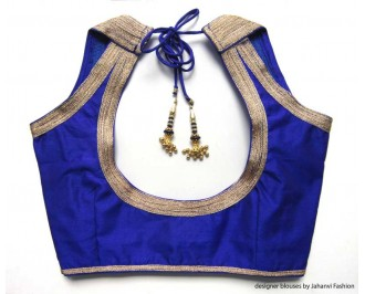 Banarsi Dupin Blue Halter Style Blouse with 5Line Golden Lace