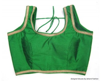 Banarsi Dupin Green Designer Lace Blouse with Back Side Loop Thread