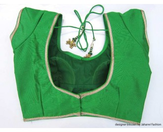 Banarsi Dupin Green with Golden Lace Overall Sweet Heart Neck
