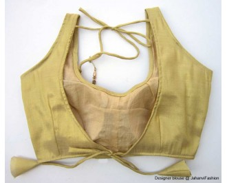 Shimmer Blouse Round Neck With Back Tie Golden