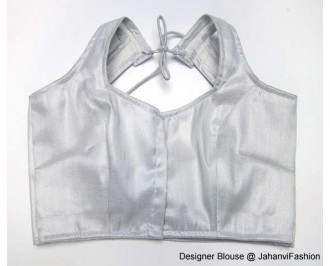 Shimmer Blouse Semi Helter Style Silver Blouse